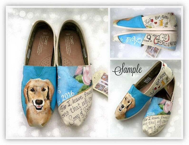 5b04ffd6c2f6 Custom Wedding Shoes Love Story TOMS Golden Retriever Mom