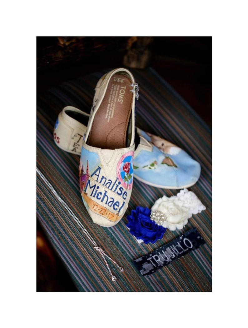 Love Story Shoes Bride Gift Princess Roses Wedding  c6c06b95e