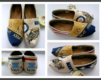 Custom Veteran TOMS Hand Painted Shoes Military  Wife Girlfriend Toms Navy Army Marine Air Force Coast Guard Mother's Day Gift Women's TOMs