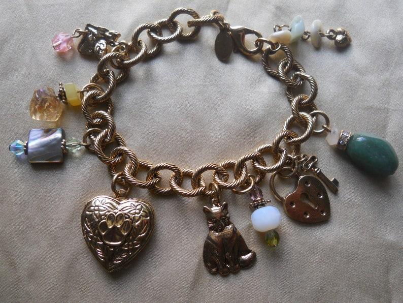 Angel Cat Kirks Folly Jewelry 7 12 Gold Tone Kirk/'s Folly Cat Charm Bracelet with Locket Charms Beads