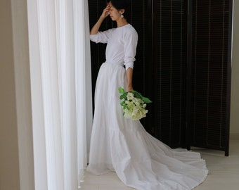 long sleeve wedding dress open back,2 piece wedding dress,wedding separates,bridal separates,simple wedding dress,casual wedding dress