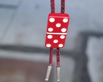 Unisex Red Domino Bolo Tie 50's Vintage
