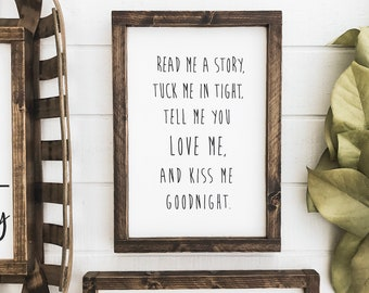 Read Story Tuck Me Tight Kiss Me Goodnight Glass Plaque Sign Shabby Chic Metal