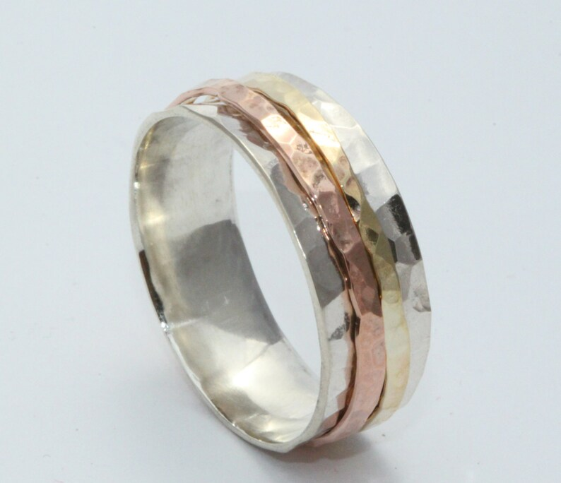 Silver/&Gold Ring Silver Spinning Ring 14k gold Ring Wedding Ring Sterling Silver And 14k Gold Ring Meditation Ring,14k gold Spinner ring