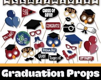 Graduation Photo Booth Props and Decorations - Class of 2018 Graduation Party Printables - Over 45 Images - Printable Photobooth Props