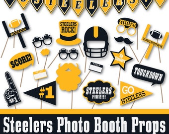 Steelers printables etsy steelers football photo booth props and party decorations steelers banner printable over 40 props in pdf format instant download filmwisefo