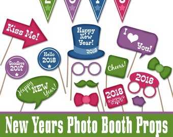 2018 New Years Photo Booth Props - Printable Decorations and Banner - Over 35 Colorful Images - Digital Download -INSTaNT DOWNLoAd - SALE