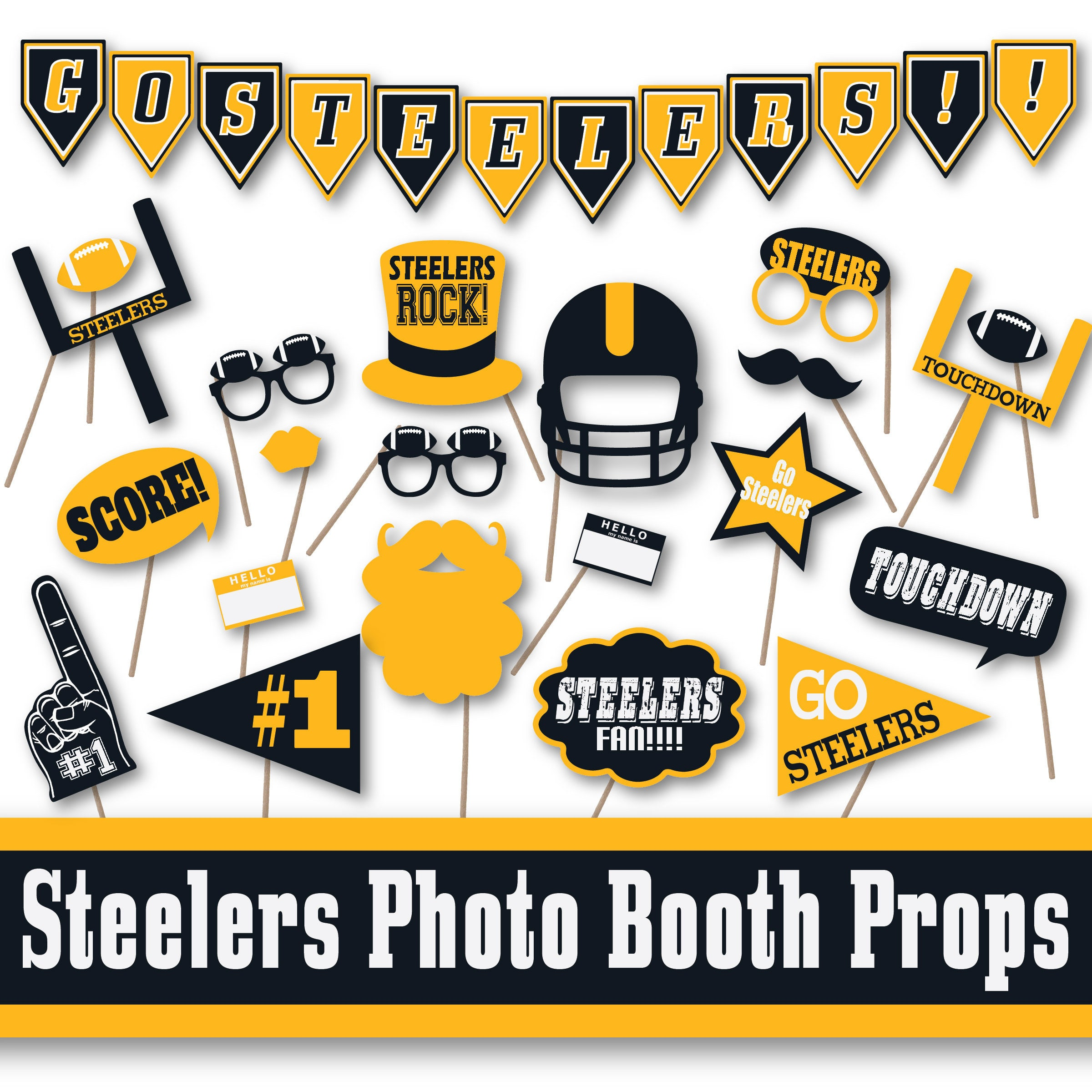 Steelers Football Photo Booth Props and Party Decorations | Etsy