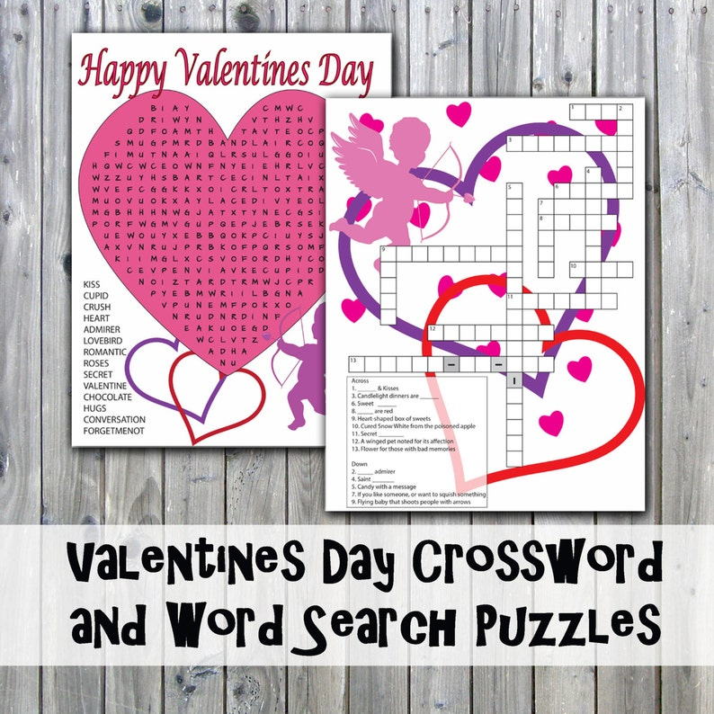 picture regarding Valentine's Day Crossword Puzzle Printable named Valentines Working day Crossword Puzzle and Phrase Look - Get together Recreation Printables - Quick Obtain