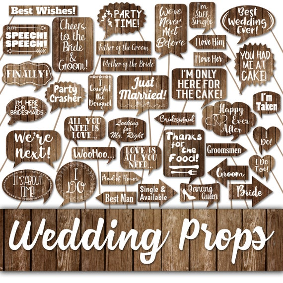Wedding Photo Props Ideas: Wedding Photo Booth Prop Signs And Decorations Rustic Wood