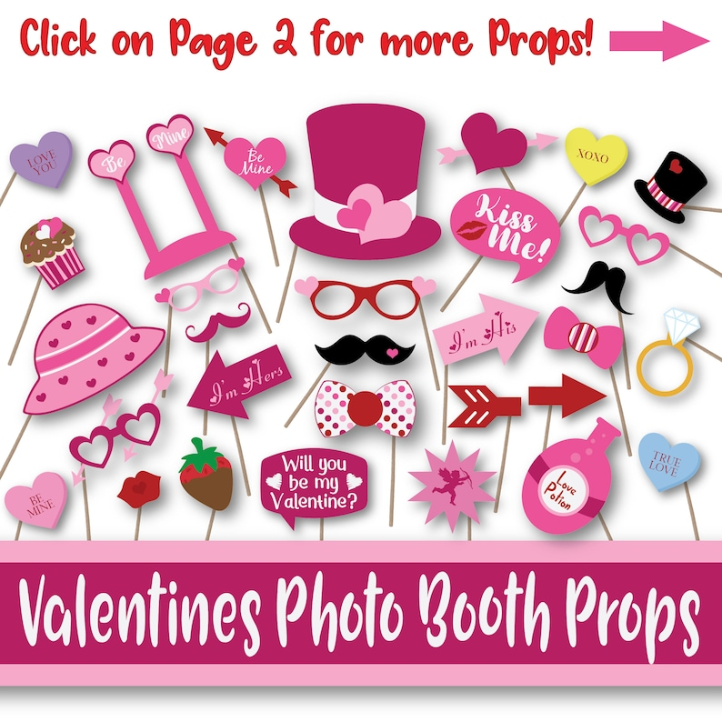 picture relating to Printable Valentines Decorations titled Valentines Working day Image Booth Props and Banner - Printable Valentine Decorations - Contains in excess of 55 Illustrations or photos within just PDF Structure - Fast Down load