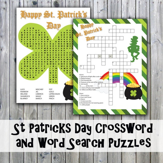 st patricks day crossword puzzle and word search party game etsy