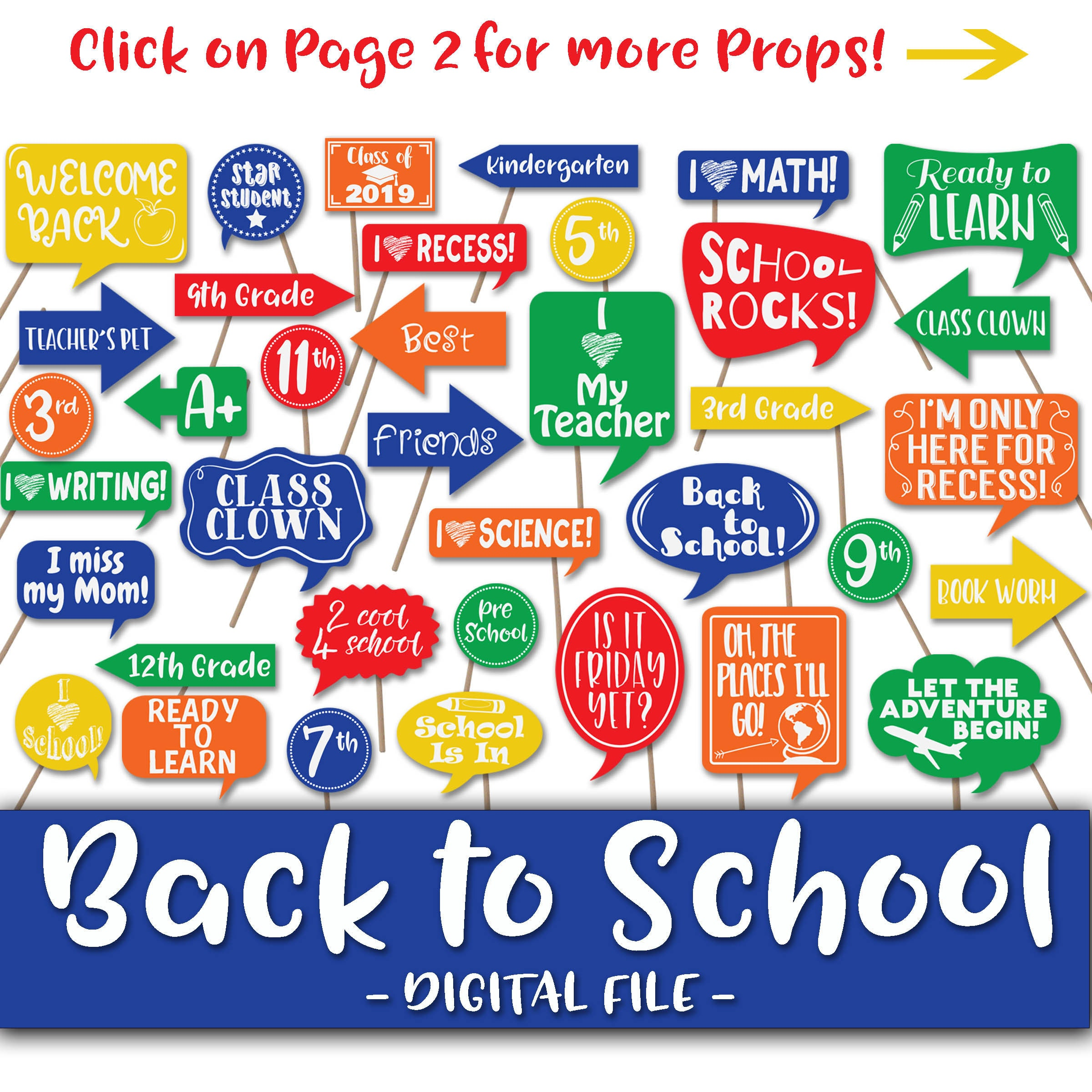 Back To School Photo Booth Props and Decorations - First Day of School  Photo Props - Colorful Printable School Signs - Digital PDF File