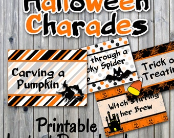 Halloween Charades Party Game Printable - 32 Different Charade Prompts on Decorative Cards Includes Blanks - Printable Digital File
