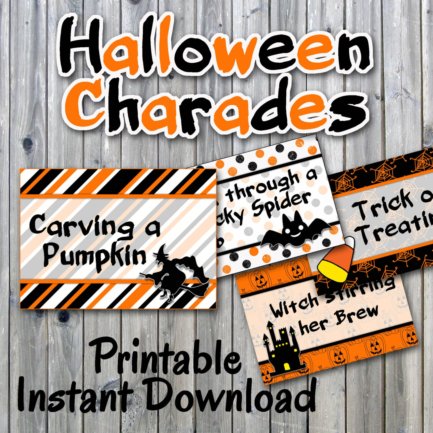 halloween charades party game printable 32 different charade | etsy
