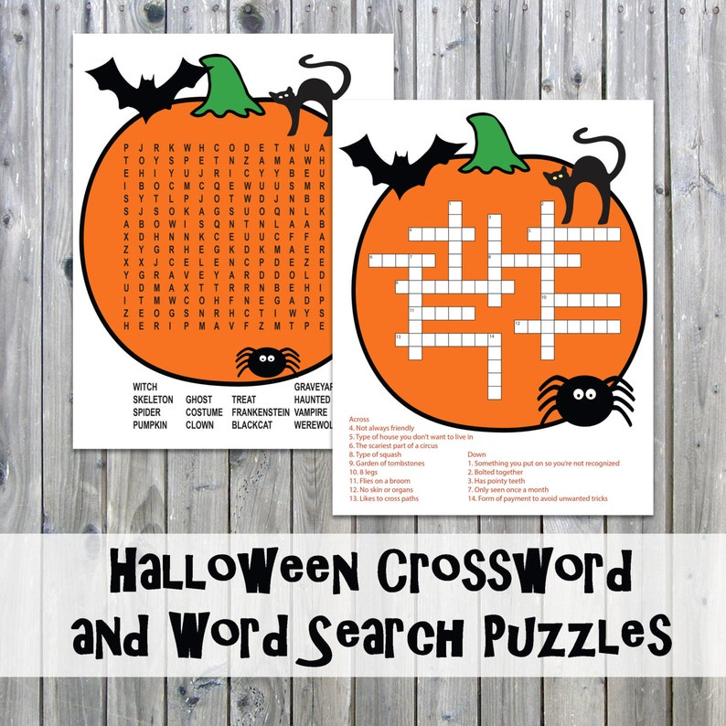 Halloween Crossword Puzzle and Word Search - Party Game Printables -  Instant Download