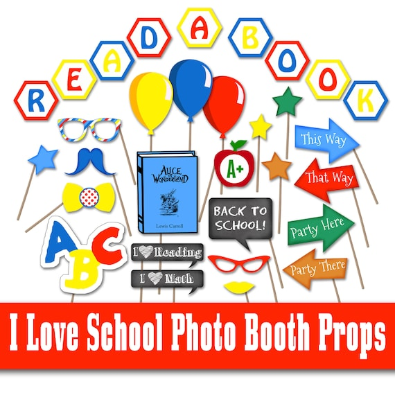 Back To School Photo Booth Props I Love School Photo Props Etsy