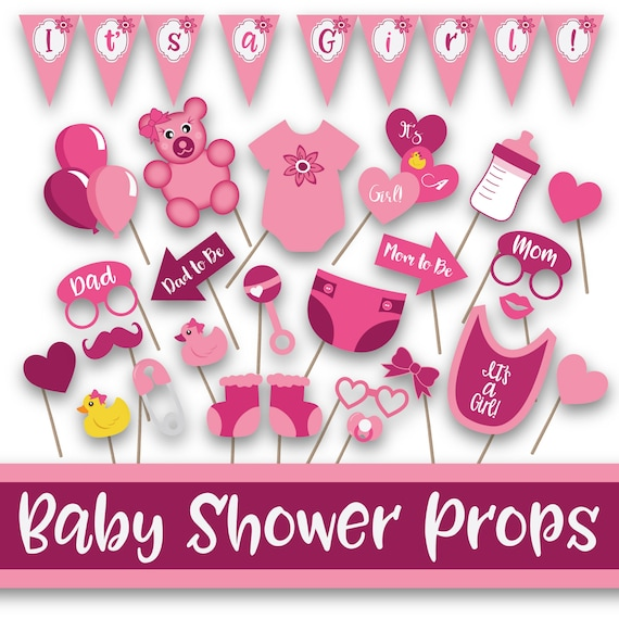 Girl Baby Shower Photo Booth Props And Decorations In Shades Etsy