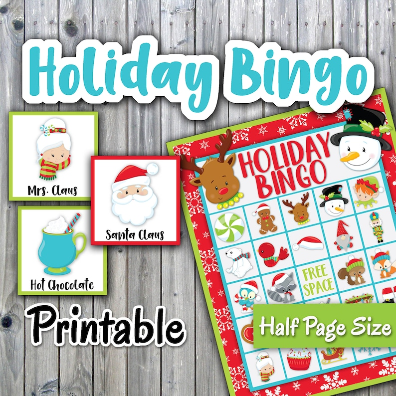 image about Holiday Bingo Printable titled Getaway Bingo Printable Activity - Xmas Bingo - 30 option Playing cards - Fifty percent Website page Sizing - Xmas Memory Activity - Occasion Activity Printable