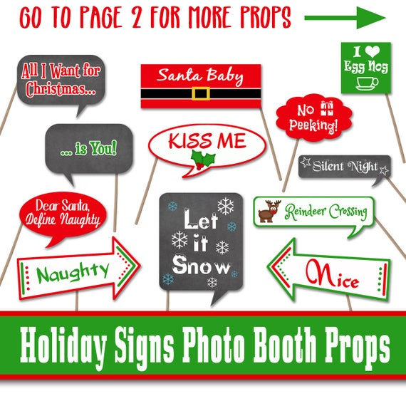 image relating to Holiday Closed Signs Printable titled Xmas Symptoms Photograph Booth Props - Printable - Contains 30 Photos within just Pdf Structure - Electronic Down load - Fast Obtain