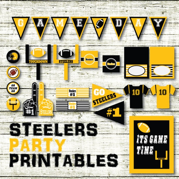 photo regarding Steelers Printable Schedule identify Steelers Soccer Bash Printables and Decorations - Steelers Printable Banner - 15 Internet pages in just PDF Layout - Prompt Down load