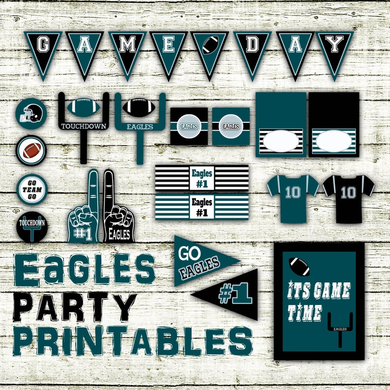 Eagles Football Party Printables And Decorations Printable Etsy