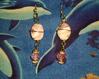 Pink Wrapped Stone Earrings