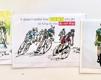 Pack of 3 Cycling Cards, Tour De France Card, Cycling Card, Cycling Art Set of Quotes Cards Bikers Cards Bike Art Cyclists Cards Sports Gift