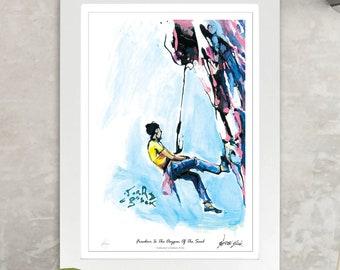 Climber Hanging From Rock Wall Print, Climbing Sports Art, Rock Climbing Wall Art, Framed Climbing Print, Climbing Poster