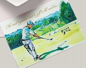A5 Golf CARD, The Most Important Shot In Golf Is The Next One, Motivational Quote Card, Greeting Card, World's Sport, Golfer Card, Play Golf