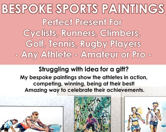 Portrait From Your Photo for Cyclist, Customised Gift For Runner, Portrait For a Rugby Player, Portrait For Climber, Sport Commission Golfer