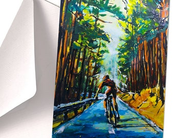 A5 CARD with Cyclist in a Forest, Bicycle Greeting Card, Bicycle Ride Card, Motivational Card, Cycling Gift, Cycling Benefits, Lonely Ride