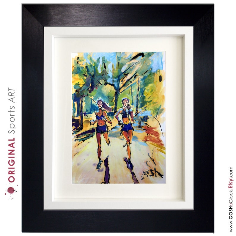 Runners Painting Original Art Friend That Run Together Stay image 0