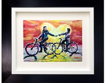 Cycling Couple Original Painting, Original Bike Painting, Cycling Couple Gift, Anniversary Gift, Original Painting, Sports Wall Art Gift