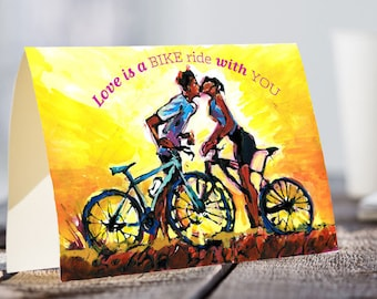 A5 Bicycle Love CARD, Love Quotes Card, Card for Valentine's, Cycling Lovers Card, Biking Card, Sports Art Card, Biking Lover Gift