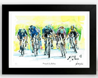 Pursuit To Victory, Tour de France Print, Limited Edition Cyclists Print, Cycling Poster, Bicycle Wall Art, Bike Art, Print of Cyclistss