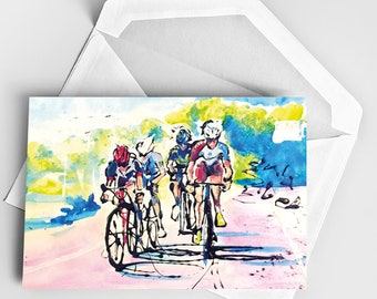 A5 La Vuelta CARD, Cycling Race Card, Bicycle Tour Card, Biking Card, Bicycle Card, Sports Card, Greeting Card, Cycling Art
