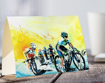 A5 Cyclist CARD, Bikers on a Road, Motivational Card, Keep it up Card, Sports Card, Greeting Card, World's Cycling Race, Cycling Lover Gift