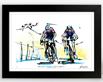 Cycling Adventures, Cycling Wall Art Print, The Great Chase, Unique Gift For Cyclists, Adventure Together Last a Lifetime
