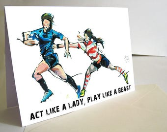 Father's Day Card, Rugby Card, Rugby Lovers Gift, Paper Cut Art, Handmade Card, Motivational Quotes Card, Original Card, Sports Art Gift