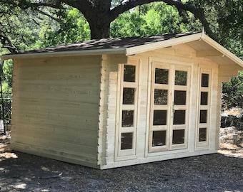 Natural wood Cabin kit, guest house kit, storage shed kit.