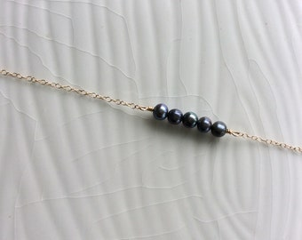 minimalist fresh water pearl bar necklace