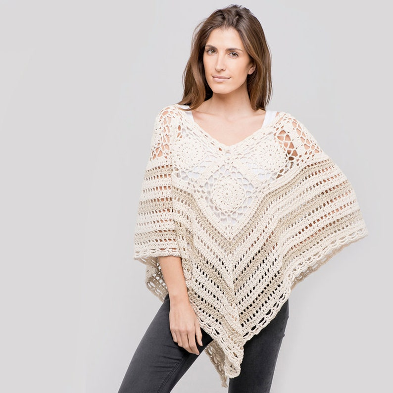 Cotton Crochet Poncho in Natural /& Dune