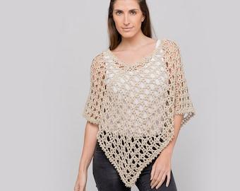 Dune Cotton Crochet Poncho