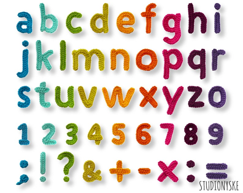 New Gehaakt alfabet patroon kleine letters cijfers leestekens | Etsy @SO29