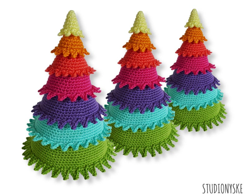 Christmas decoration tree rainbow ornament crochet amigurumi image 0