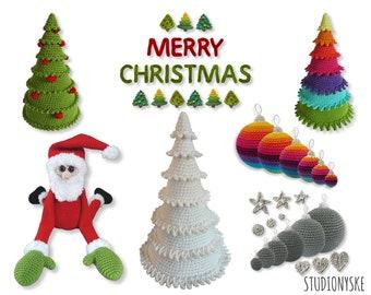 Amigurumi Christmas bundle pattern crochet trees ornaments appliques Santa Claus digital download PDF