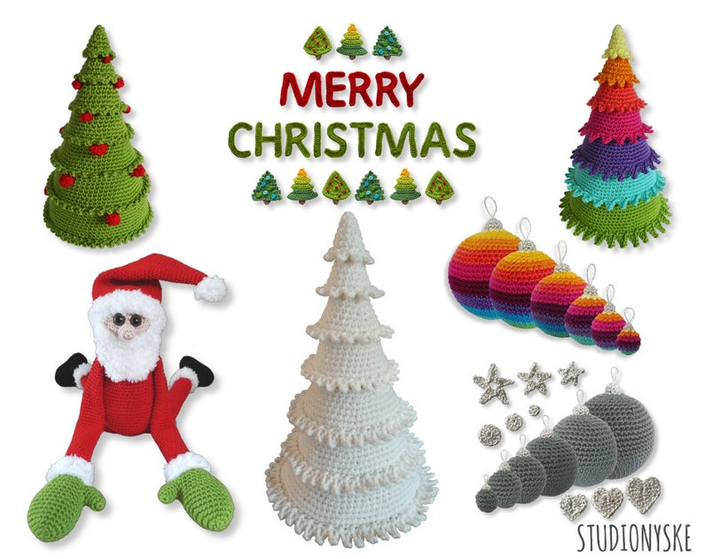 Amigurumi Christmas bundle pattern crochet trees ornaments image 0