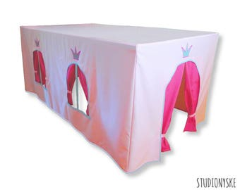 Play tent princess sewing PATTERN, pink table playhouse castle, birthday gift girl instant download PDF