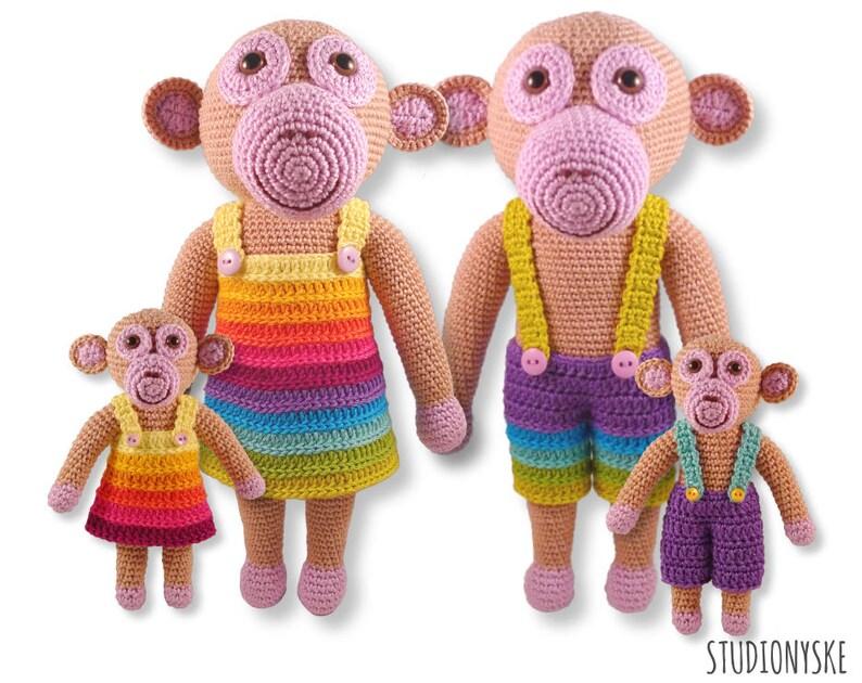 Crochet toy doll amigurumi monkey pattern FAMILY stuffed image 0